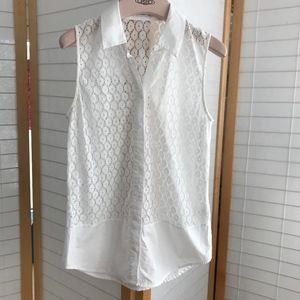 Equipment femme white eyelet sleeveless top sz XS